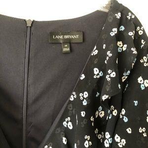 Lane Bryant Blue Floral Short Sleeve Dress